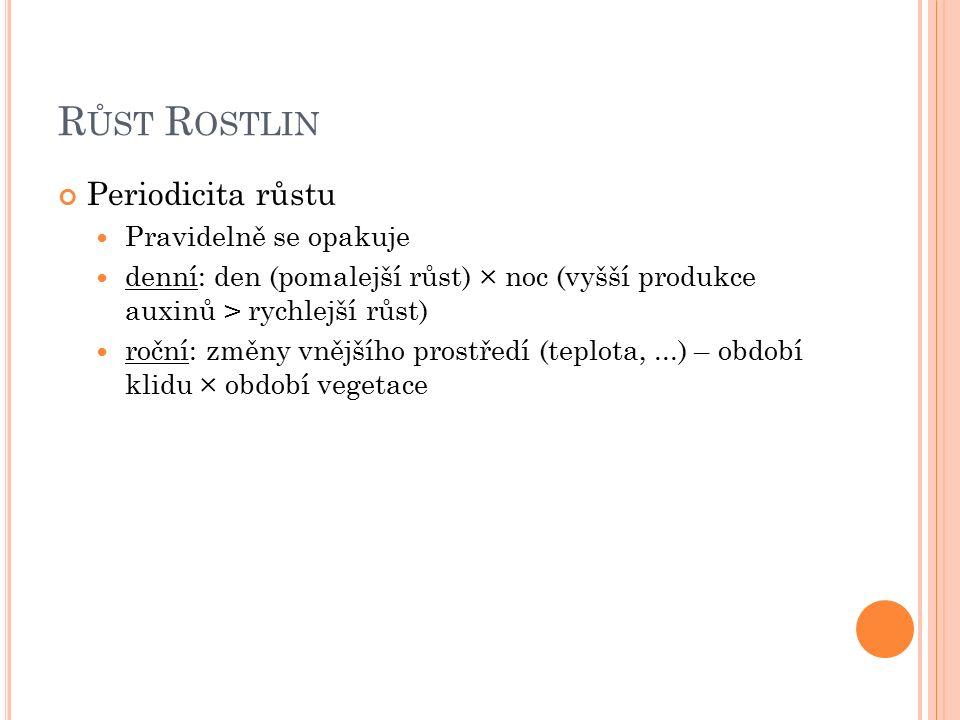 R ŮST R OSTLIN Periodicita růstu Pravidelně se opakuje denní: den (pomalejší růst) × noc (vyšší produkce auxinů > rychlejší růst) roční: změny vnějšího prostředí (teplota,...) – období klidu × období vegetace