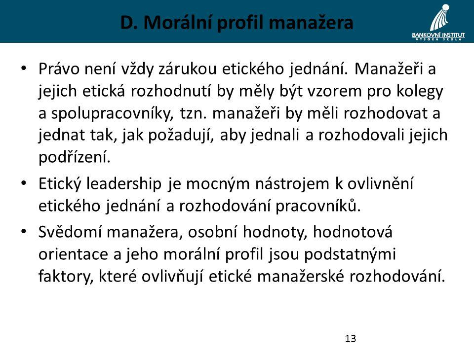 D. Morální profil manažera Právo není vždy zárukou etického jednání.
