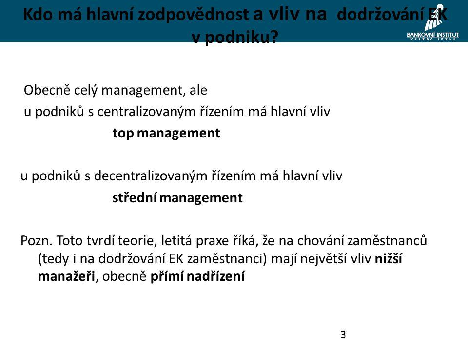 3 Kdo má hlavní zodpovědnost a vliv na dodržování EK v podniku.