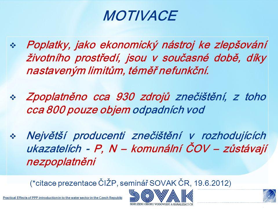Practical Effects of PPP introduction in to the water sector in the Czech Republic Poplatky celkem cca 250 mil Kč (zálohy poplatků na rok 2012, v roce 2000 cca 700mil.