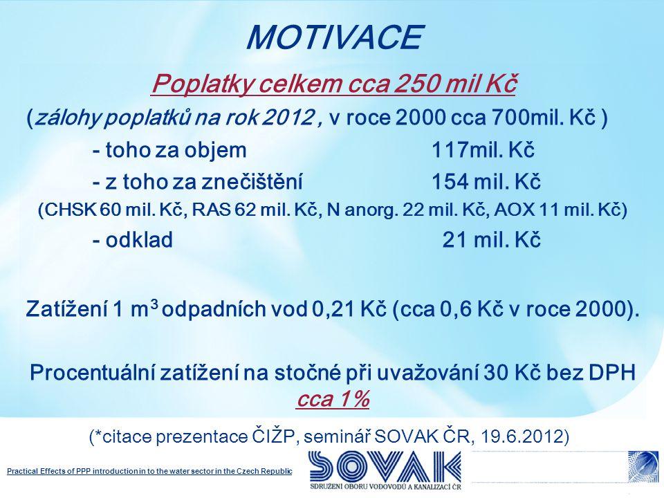 Practical Effects of PPP introduction in to the water sector in the Czech Republic Poplatky celkem cca 250 mil Kč (zálohy poplatků na rok 2012, v roce