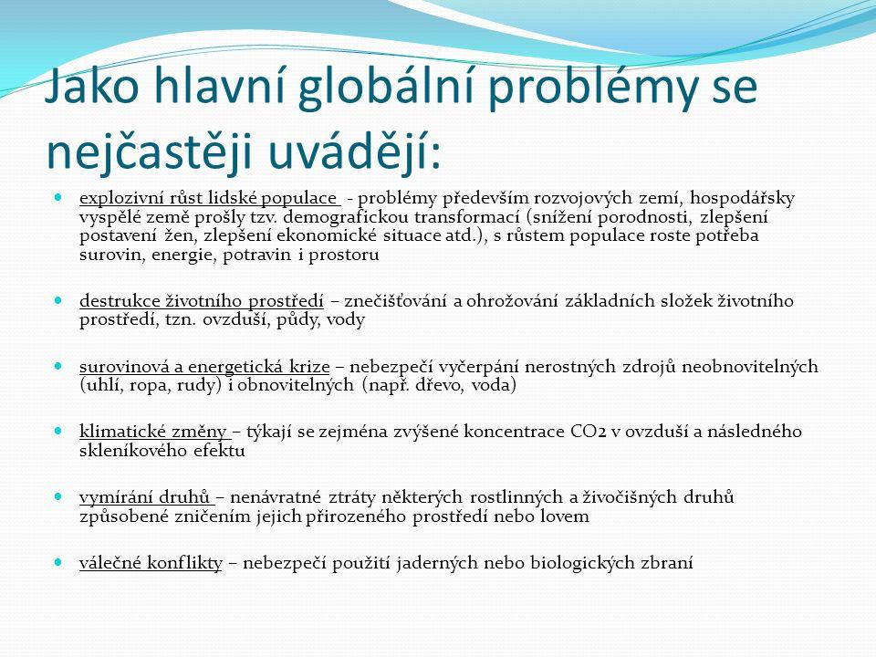 explozivní růst lidské populace - problémy především rozvojových zemí, hospodářsky vyspělé země prošly tzv.