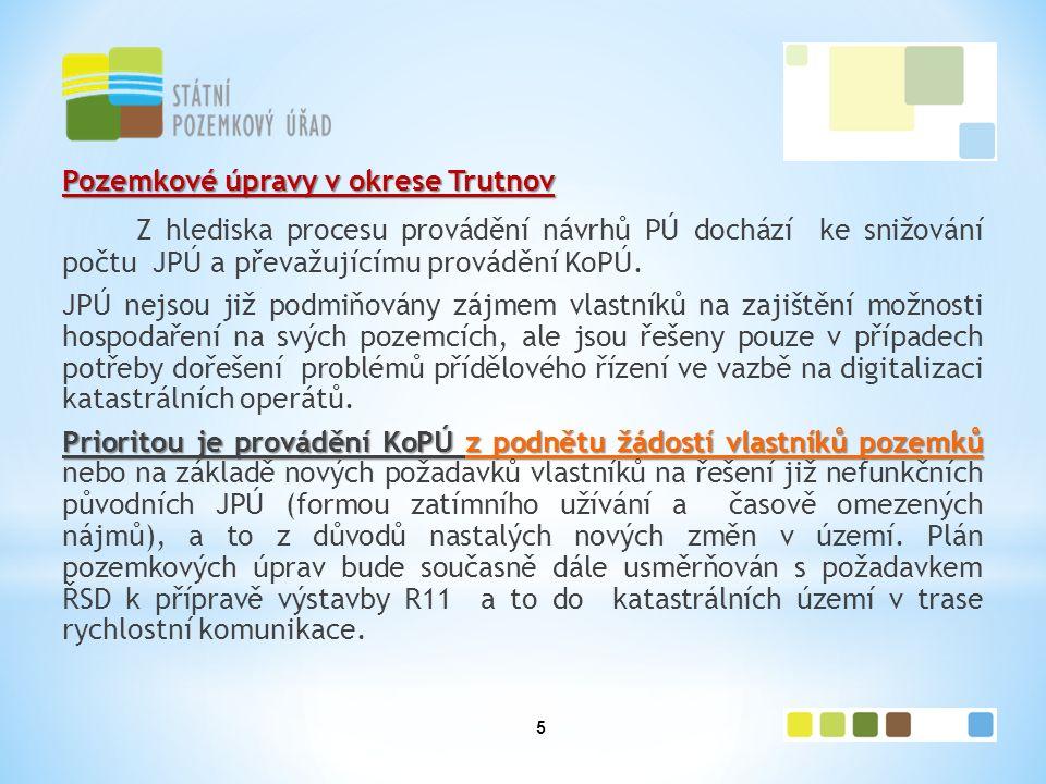 5 Pozemkové úpravy v okrese Trutnov Z hlediska procesu provádění návrhů PÚ dochází ke snižování počtu JPÚ a převažujícímu provádění KoPÚ.