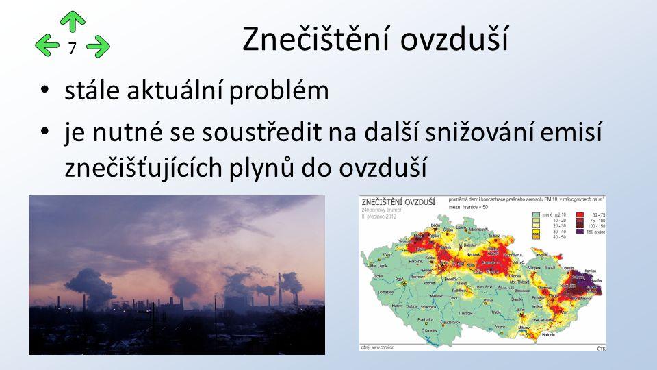 stále aktuální problém je nutné se soustředit na další snižování emisí znečišťujících plynů do ovzduší Znečištění ovzduší 7
