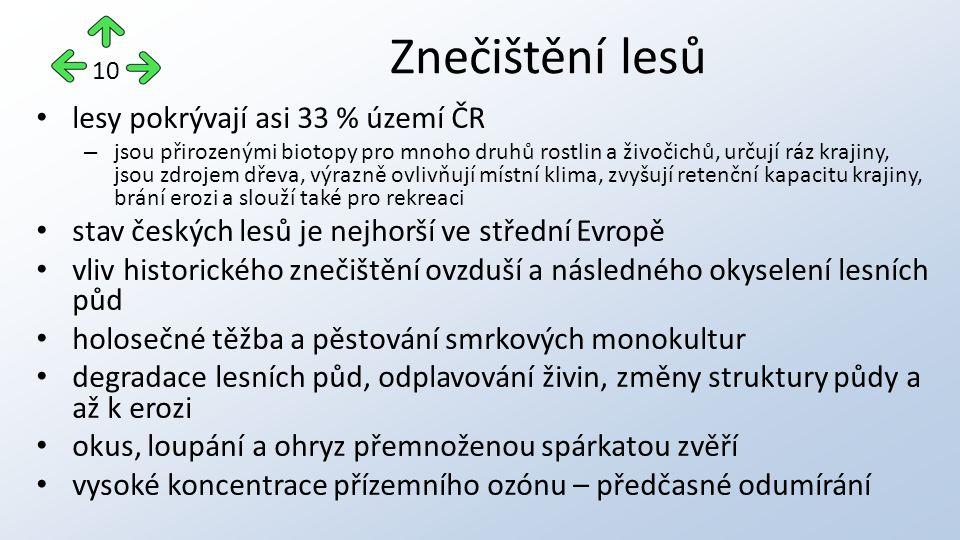 lesy pokrývají asi 33 % území ČR – jsou přirozenými biotopy pro mnoho druhů rostlin a živočichů, určují ráz krajiny, jsou zdrojem dřeva, výrazně ovlivňují místní klima, zvyšují retenční kapacitu krajiny, brání erozi a slouží také pro rekreaci stav českých lesů je nejhorší ve střední Evropě vliv historického znečištění ovzduší a následného okyselení lesních půd holosečné těžba a pěstování smrkových monokultur degradace lesních půd, odplavování živin, změny struktury půdy a až k erozi okus, loupání a ohryz přemnoženou spárkatou zvěří vysoké koncentrace přízemního ozónu – předčasné odumírání Znečištění lesů 10
