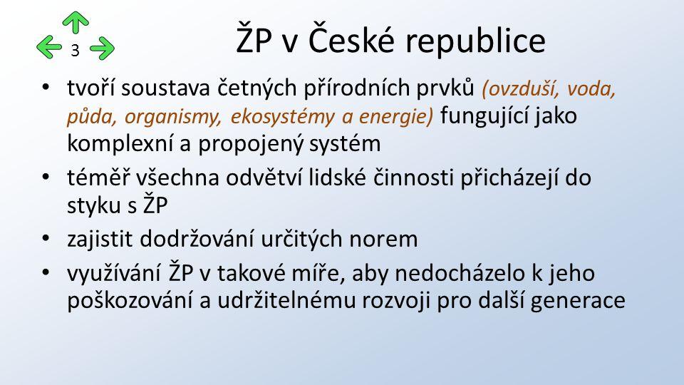 tvoří soustava četných přírodních prvků (ovzduší, voda, půda, organismy, ekosystémy a energie) fungující jako komplexní a propojený systém téměř všechna odvětví lidské činnosti přicházejí do styku s ŽP zajistit dodržování určitých norem využívání ŽP v takové míře, aby nedocházelo k jeho poškozování a udržitelnému rozvoji pro další generace ŽP v České republice 3