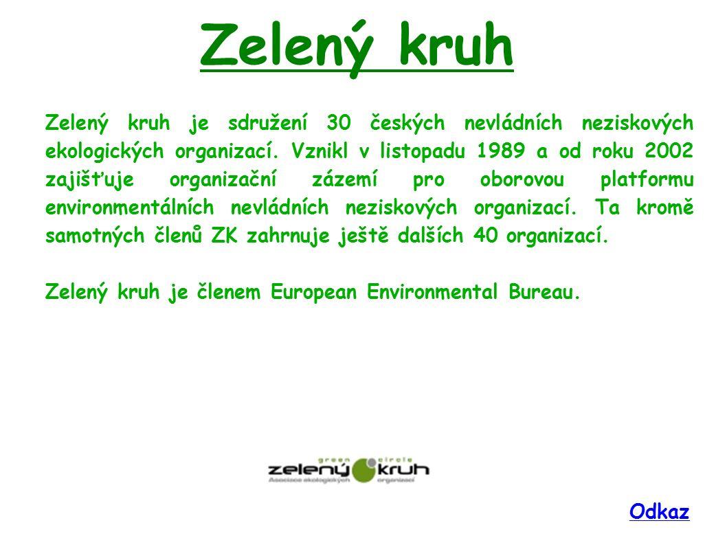 Zelený kruh Zelený kruh je sdružení 30 českých nevládních neziskových ekologických organizací. Vznikl v listopadu 1989 a od roku 2002 zajišťuje organi