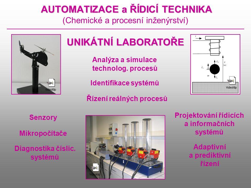 AUTOMATIZACE a ŘÍDICÍ TECHNIKA (Chemické a procesní inženýrství) UNIKÁTNÍ LABORATOŘE Analýza a simulace technolog.