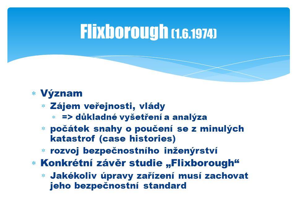 """ Význam  Zájem veřejnosti, vlády  => důkladné vyšetření a analýza  počátek snahy o poučení se z minulých katastrof (case histories)  rozvoj bezpečnostního inženýrství  Konkrétní závěr studie """"Flixborough  Jakékoliv úpravy zařízení musí zachovat jeho bezpečnostní standard Flixborough (1.6.1974)"""