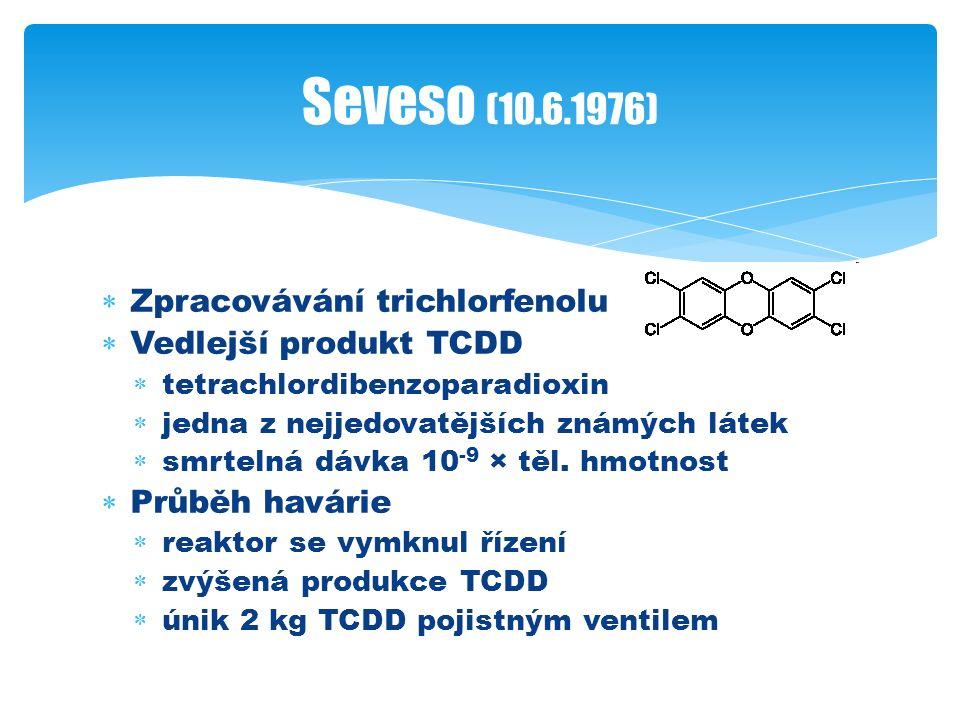  Zpracovávání trichlorfenolu  Vedlejší produkt TCDD  tetrachlordibenzoparadioxin  jedna z nejjedovatějších známých látek  smrtelná dávka 10 -9 × těl.