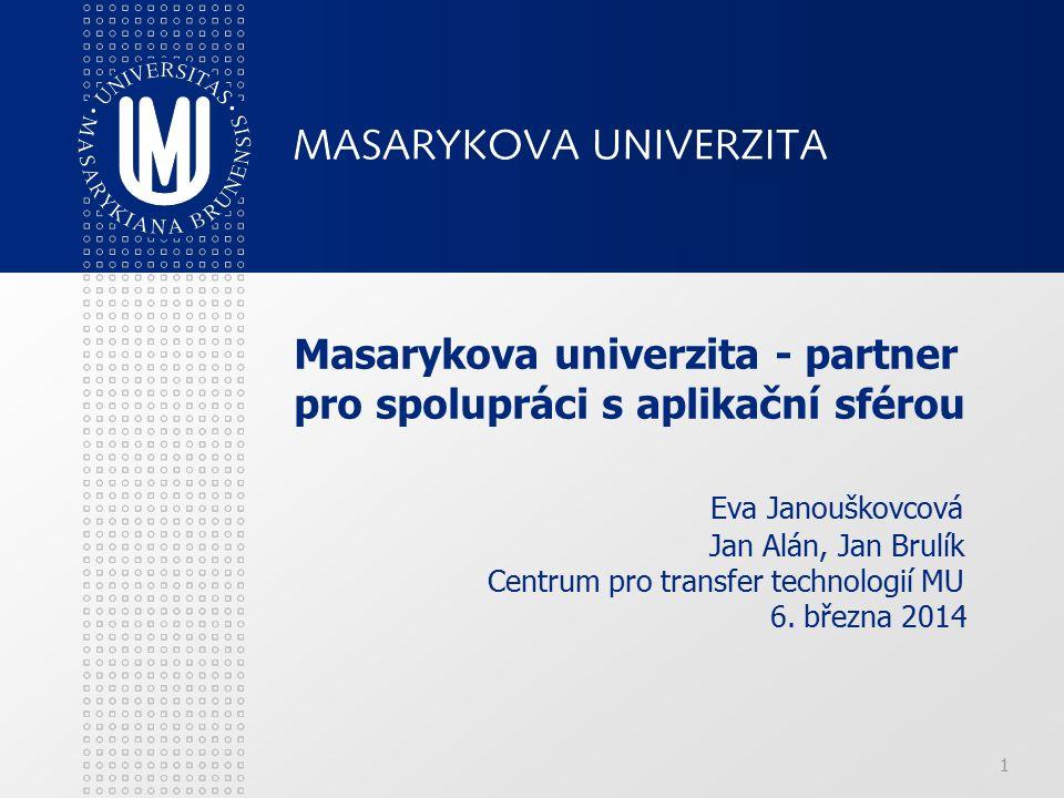 1 Masarykova univerzita - partner pro spolupráci s aplikační sférou Eva Janouškovcová Jan Alán, Jan Brulík Centrum pro transfer technologií MU 6.