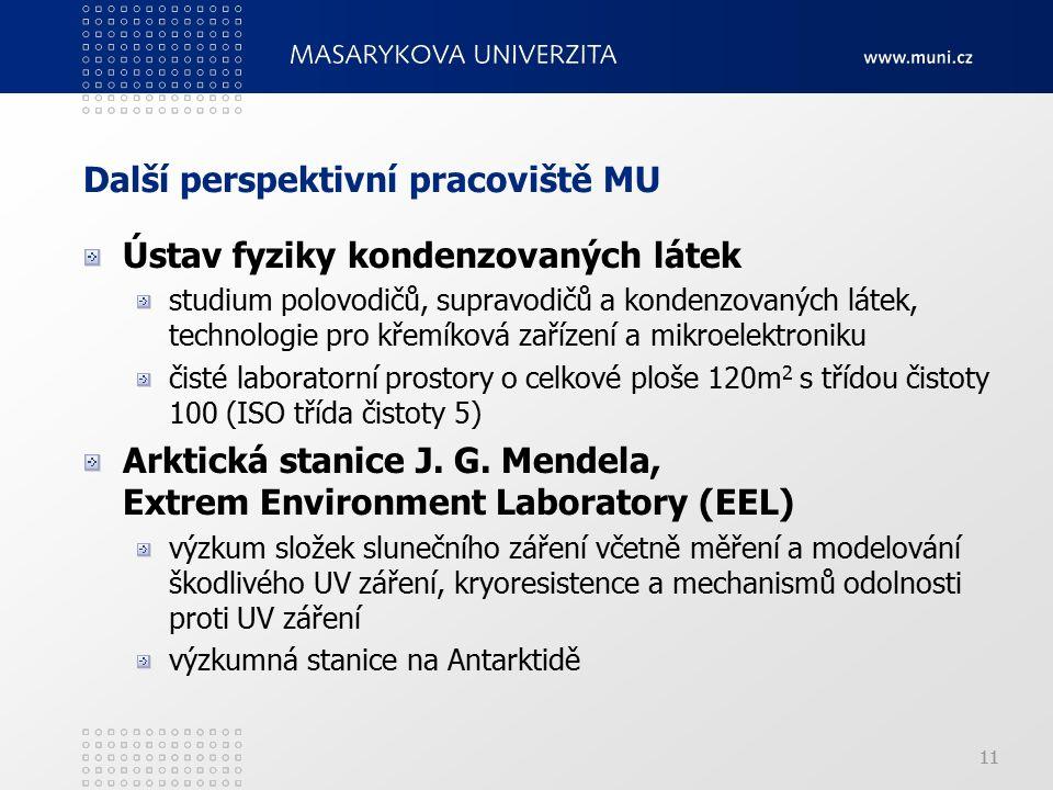 11 Další perspektivní pracoviště MU Ústav fyziky kondenzovaných látek studium polovodičů, supravodičů a kondenzovaných látek, technologie pro křemíková zařízení a mikroelektroniku čisté laboratorní prostory o celkové ploše 120m 2 s třídou čistoty 100 (ISO třída čistoty 5) Arktická stanice J.