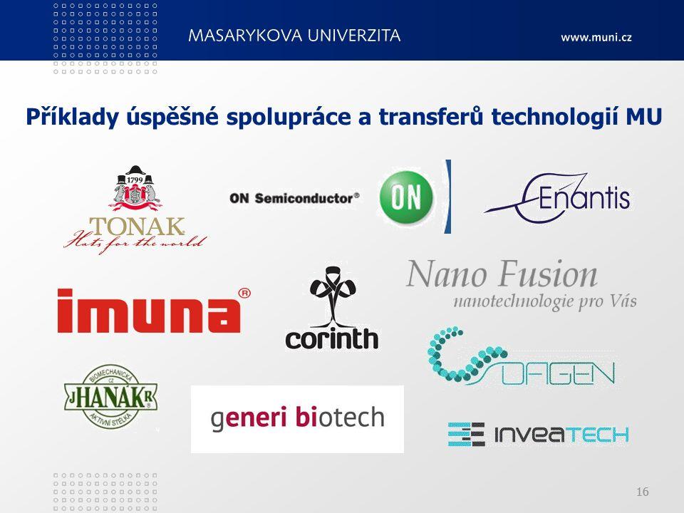 16 Příklady úspěšné spolupráce a transferů technologií MU 16