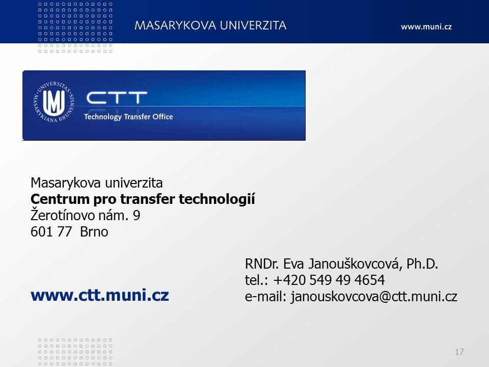 17 Masarykova univerzita Centrum pro transfer technologií Žerotínovo nám.