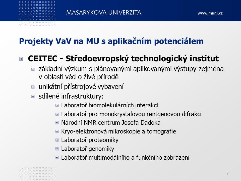 7 Projekty VaV na MU s aplikačním potenciálem CEITEC - Středoevropský technologický institut základní výzkum s plánovanými aplikovanými výstupy zejména v oblasti věd o živé přírodě unikátní přístrojové vybavení sdílené infrastruktury: Laboratoř biomolekulárních interakcí Laboratoř pro monokrystalovou rentgenovou difrakci Národní NMR centrum Josefa Dadoka Kryo-elektronová mikroskopie a tomografie Laboratoř proteomiky Laboratoř genomiky Laboratoř multimodálního a funkčního zobrazení 7
