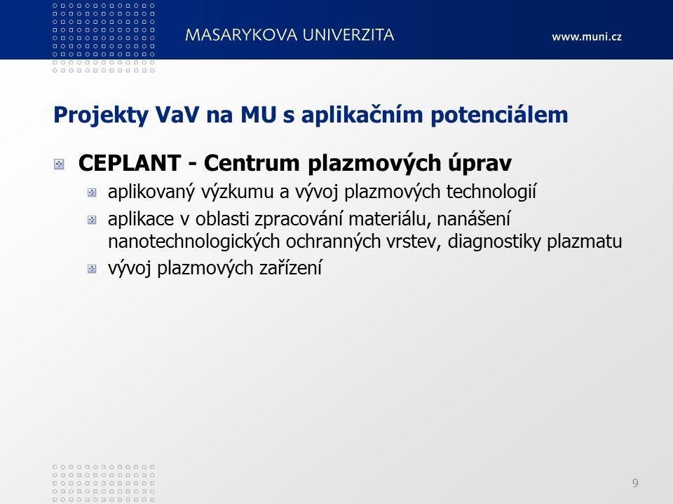 9 Projekty VaV na MU s aplikačním potenciálem CEPLANT - Centrum plazmových úprav aplikovaný výzkumu a vývoj plazmových technologií aplikace v oblasti zpracování materiálu, nanášení nanotechnologických ochranných vrstev, diagnostiky plazmatu vývoj plazmových zařízení 9