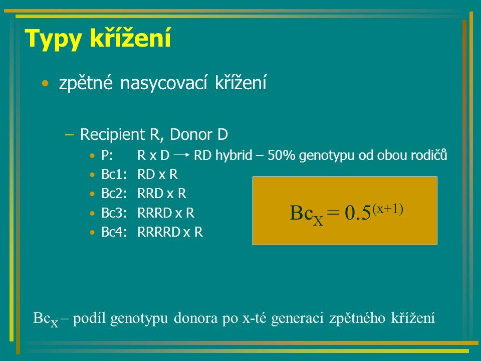 zpětné nasycovací křížení –Recipient R, Donor D P:R x D RD hybrid – 50% genotypu od obou rodičů Bc1:RD x R Bc2:RRD x R Bc3:RRRD x R Bc4:RRRRD x R Typy křížení Bc X = 0.5 (x+1) Bc X – podíl genotypu donora po x-té generaci zpětného křížení