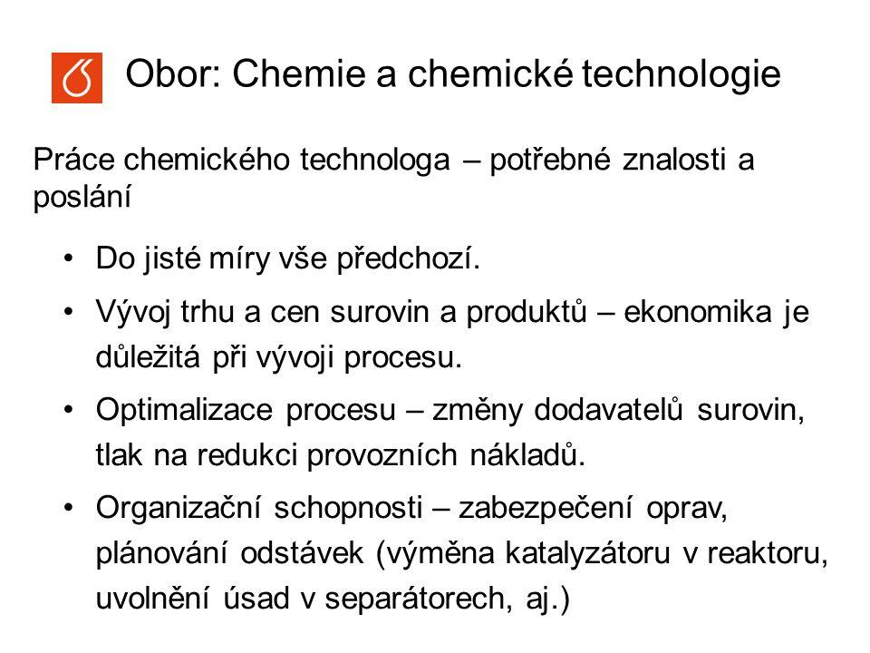 Obor: Chemie a chemické technologie Obecná a anorganická chemie Organická chemie Matematika Fyzika Fyzikální chemie Chemické inženýrství Analytická chemie Profilové předměty bakalářského oboru: