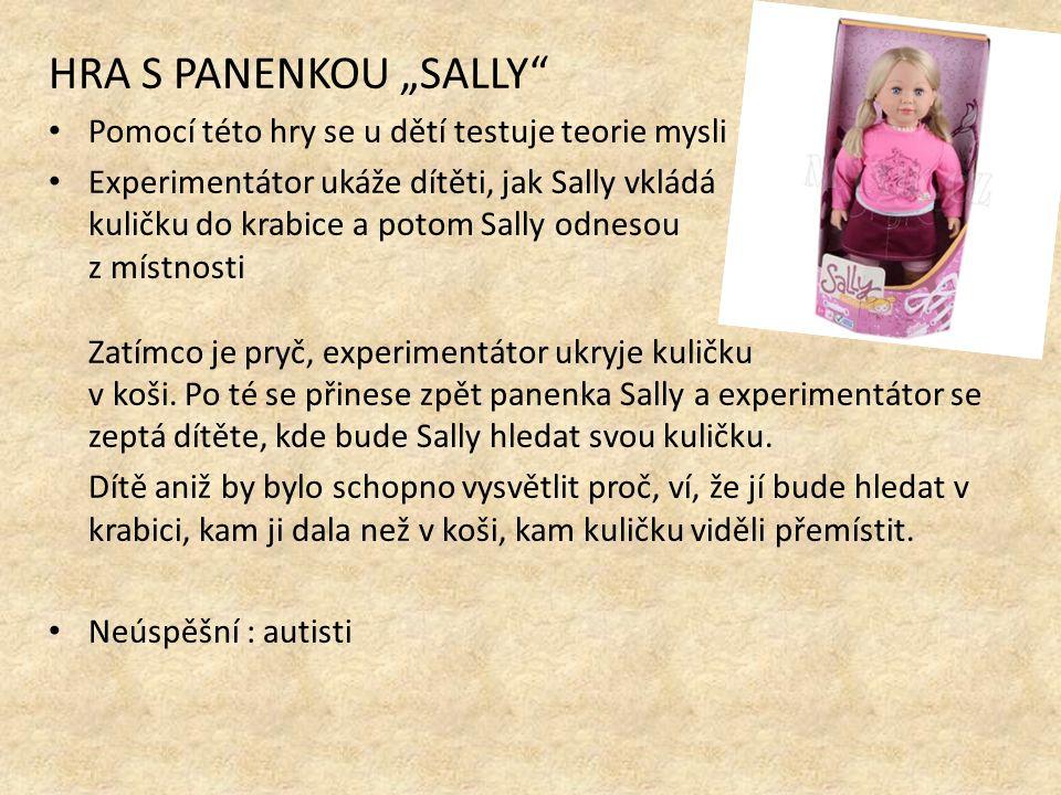 """HRA S PANENKOU """"SALLY Pomocí této hry se u dětí testuje teorie mysli Experimentátor ukáže dítěti, jak Sally vkládá kuličku do krabice a potom Sally odnesou z místnosti Zatímco je pryč, experimentátor ukryje kuličku v koši."""