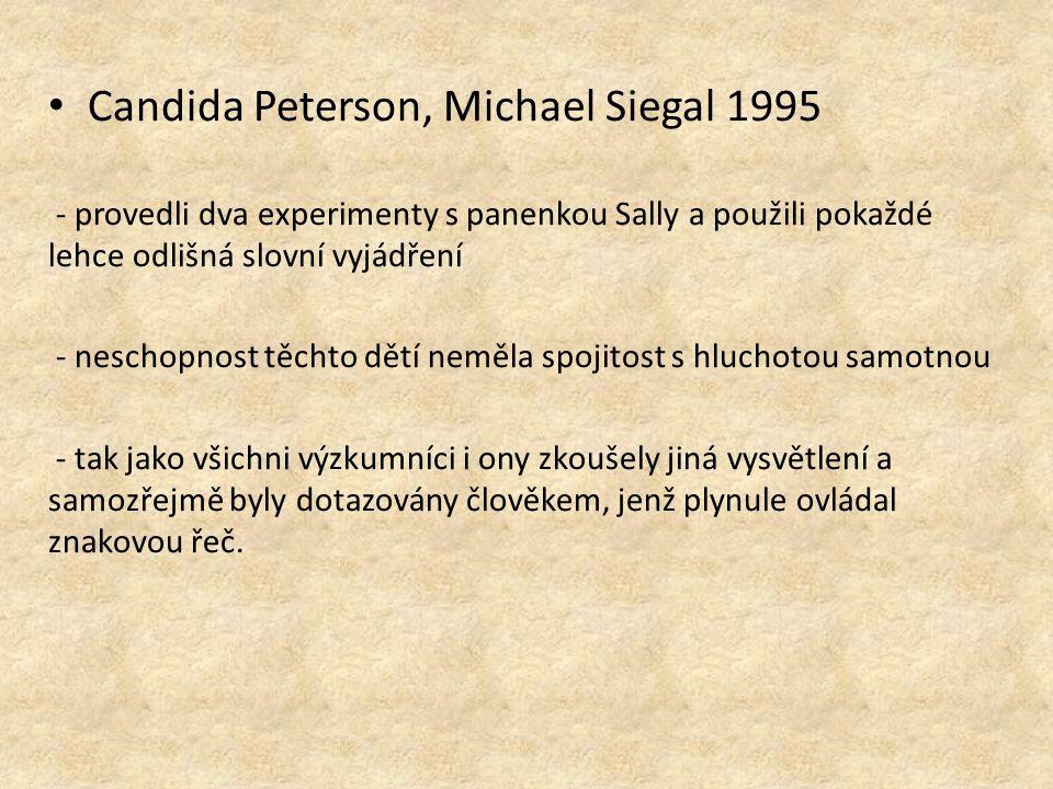 Candida Peterson, Michael Siegal 1995 - provedli dva experimenty s panenkou Sally a použili pokaždé lehce odlišná slovní vyjádření - neschopnost těchto dětí neměla spojitost s hluchotou samotnou - tak jako všichni výzkumníci i ony zkoušely jiná vysvětlení a samozřejmě byly dotazovány člověkem, jenž plynule ovládal znakovou řeč.