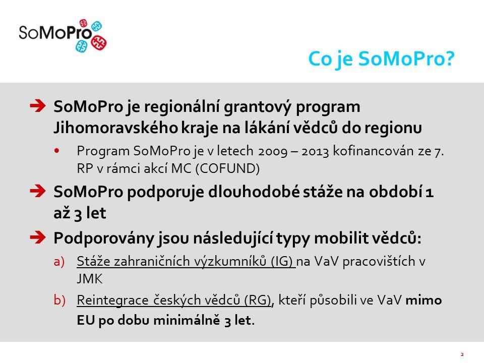 2 Co je SoMoPro?  SoMoPro je regionální grantový program Jihomoravského kraje na lákání vědců do regionu Program SoMoPro je v letech 2009 – 2013 kofi