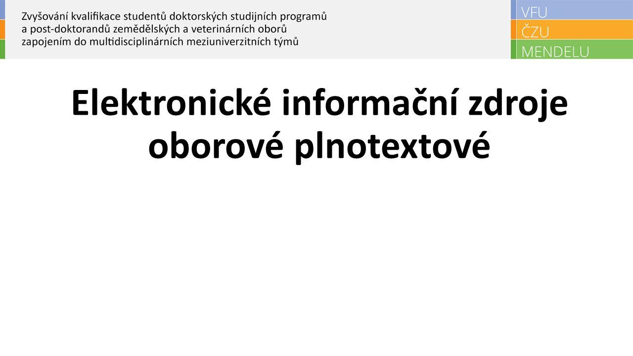 Elektronické informační zdroje oborové plnotextové