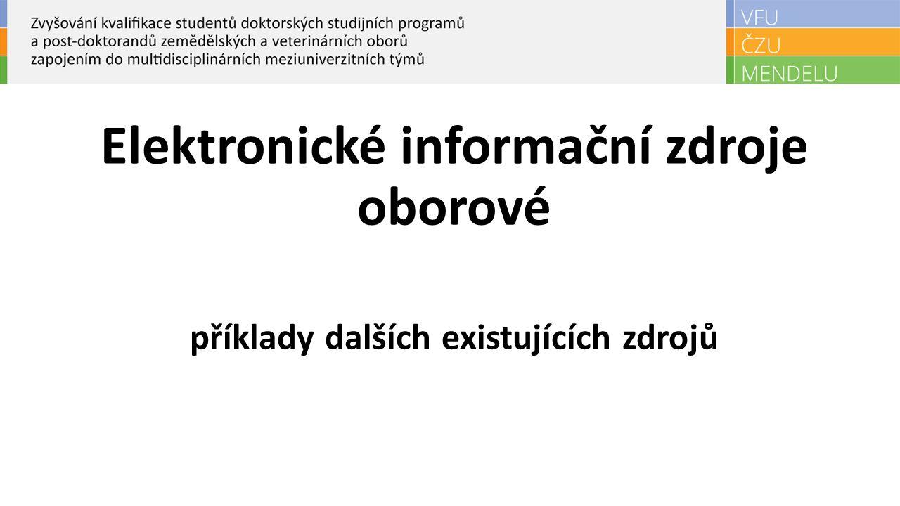 Elektronické informační zdroje oborové příklady dalších existujících zdrojů