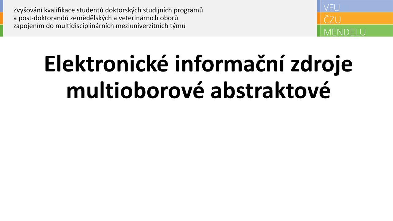 Elektronické informační zdroje multioborové abstraktové