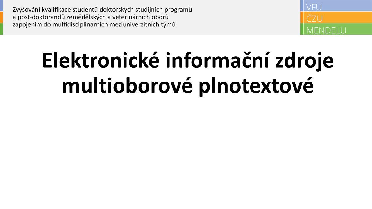 Elektronické informační zdroje multioborové plnotextové