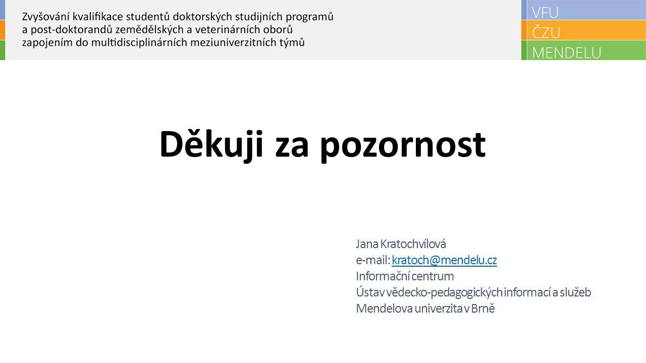 Děkuji za pozornost Jana Kratochvílová e-mail: kratoch@mendelu.czkratoch@mendelu.cz Informační centrum Ústav vědecko-pedagogických informací a služeb Mendelova univerzita v Brně