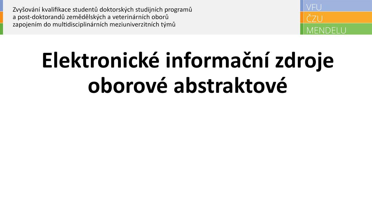 Elektronické informační zdroje oborové abstraktové