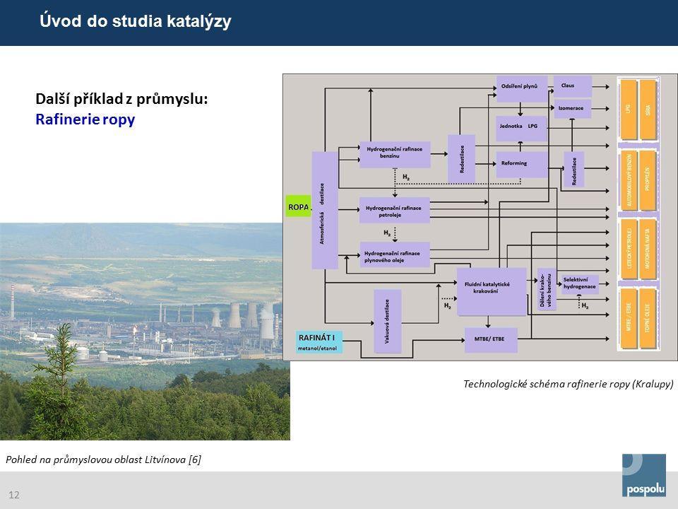 Další příklad z průmyslu: Rafinerie ropy Poznámky : Technologické schéma rafinerie ropy (Kralupy) Pohled na průmyslovou oblast Litvínova [6] Úvod do studia katalýzy 12