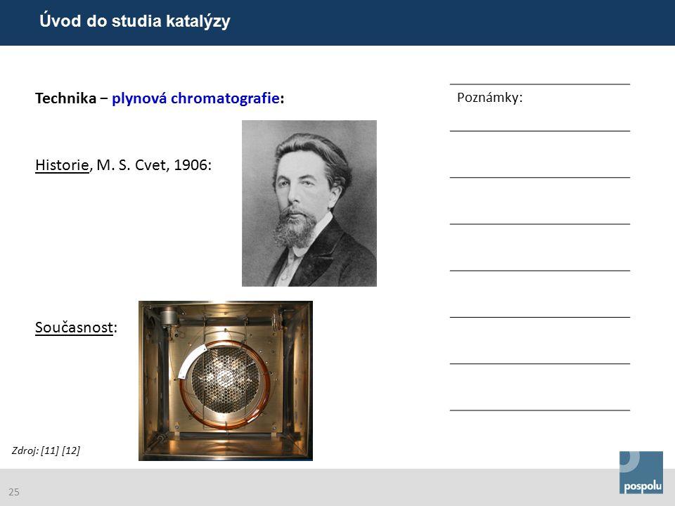 Technika − plynová chromatografie: Poznámky: Historie, M. S. Cvet, 1906: Současnost: Zdroj: [11] [12] Úvod do studia katalýzy 25