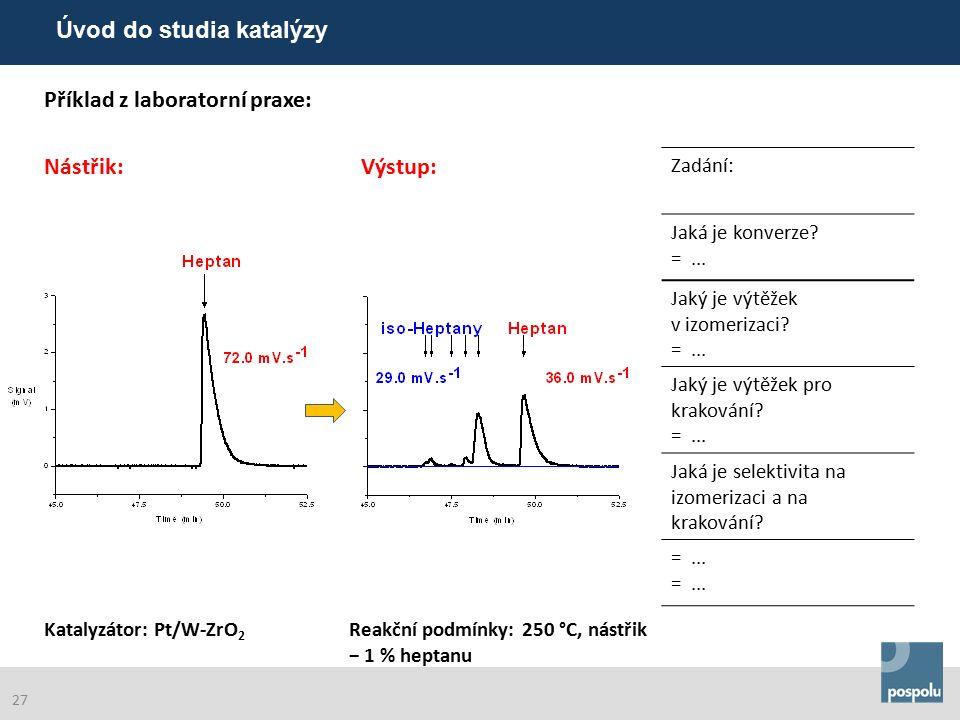 Příklad z laboratorní praxe: Nástřik:Výstup: Zadání: Katalyzátor: Pt/W-ZrO 2 Reakční podmínky: 250 °C, nástřik − 1 % heptanu Jaká je konverze.