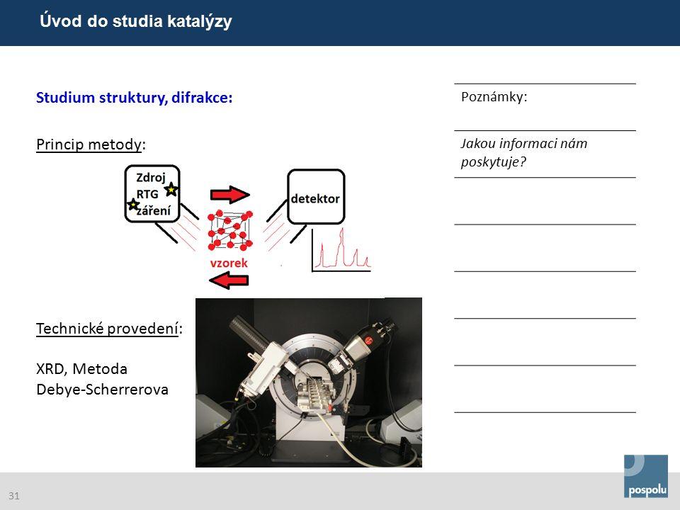 Studium struktury, difrakce: Poznámky: Princip metody: Technické provedení: XRD, Metoda Debye-Scherrerova Jakou informaci nám poskytuje.