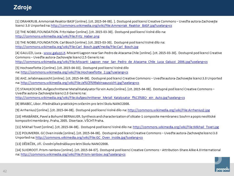 [1] DRAHKRUB. Ammoniak Reaktor BASF [online]. [cit. 2015-04-08]. ]. Dostupné pod licencí Creative Commons − Uveďte autora-Zachovejte licenci 3.0 Unpor