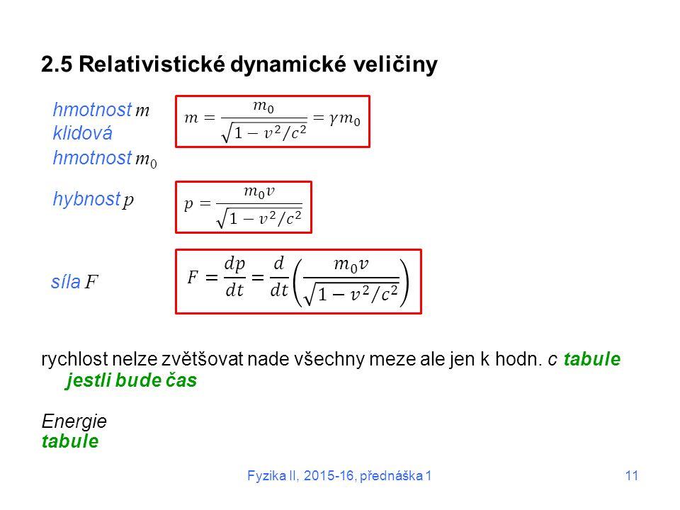 Fyzika II, 2015-16, přednáška 111 2.5 Relativistické dynamické veličiny rychlost nelze zvětšovat nade všechny meze ale jen k hodn. c tabule jestli bud