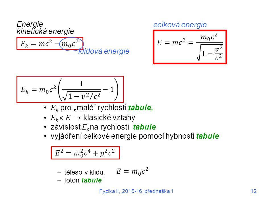 """Fyzika II, 2015-16, přednáška 112 Energie kinetická energie E k pro """" malé"""" rychlosti tabule, E k « E → klasické vztahy závislost E k na rychlosti tab"""