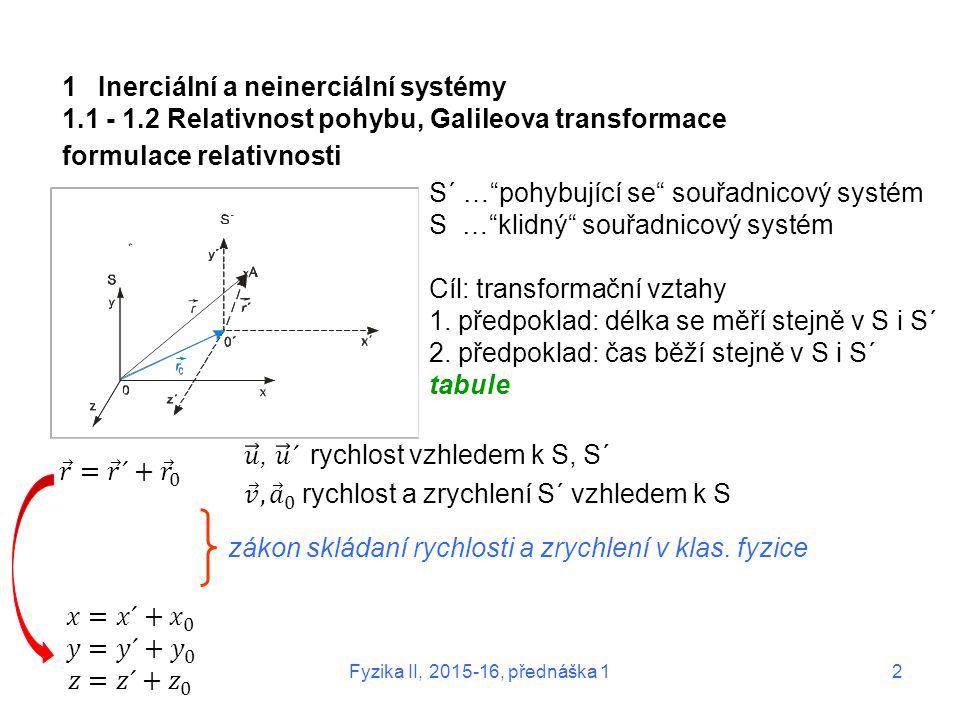 """1Inerciální a neinerciální systémy 1.1 - 1.2 Relativnost pohybu, Galileova transformace formulace relativnosti S´ …""""pohybující se"""" souřadnicový systém"""