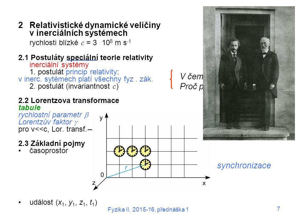 Fyzika II, 2015-16, přednáška 1 7 2Relativistické dynamické veličiny v inerciálních systémech rychlosti blízké c = 3. 10 8 m s -1 2.1 Postuláty speciá