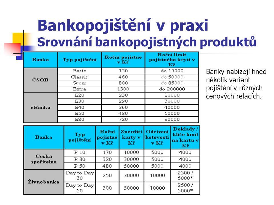 Bankopojištění v praxi Srovnání bankopojistných produktů Banky nabízejí hned několik variant pojištění v různých cenových relacích.