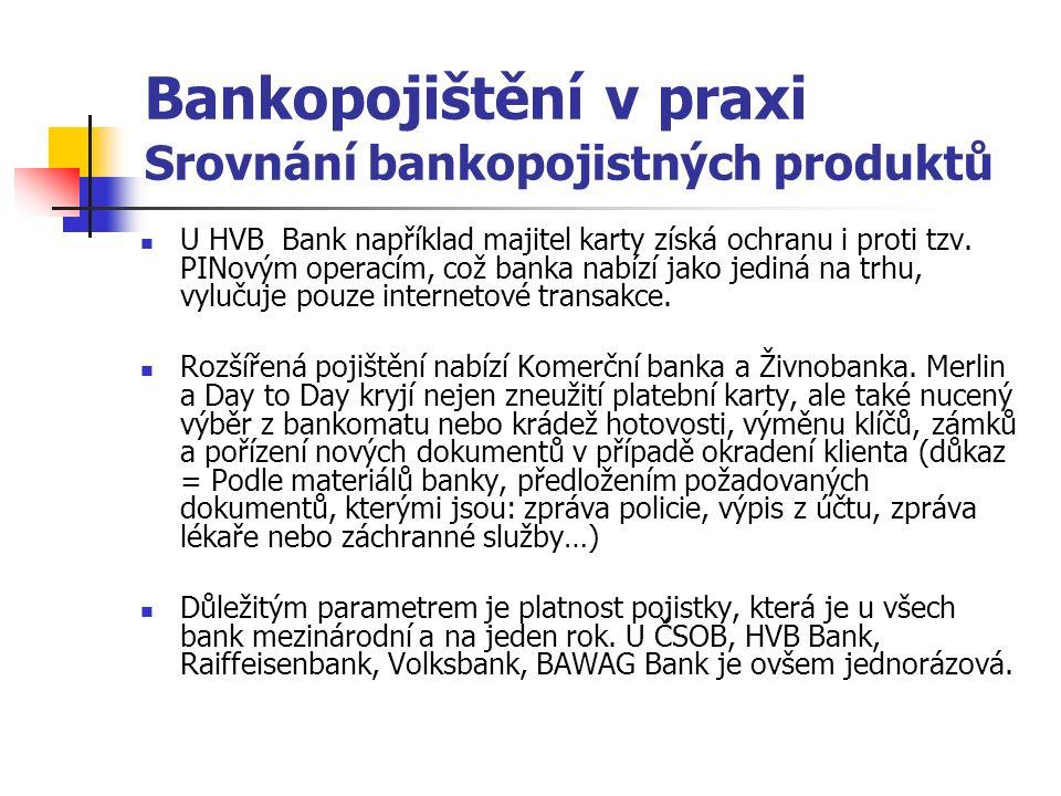 Bankopojištění v praxi Srovnání bankopojistných produktů U HVB Bank například majitel karty získá ochranu i proti tzv.