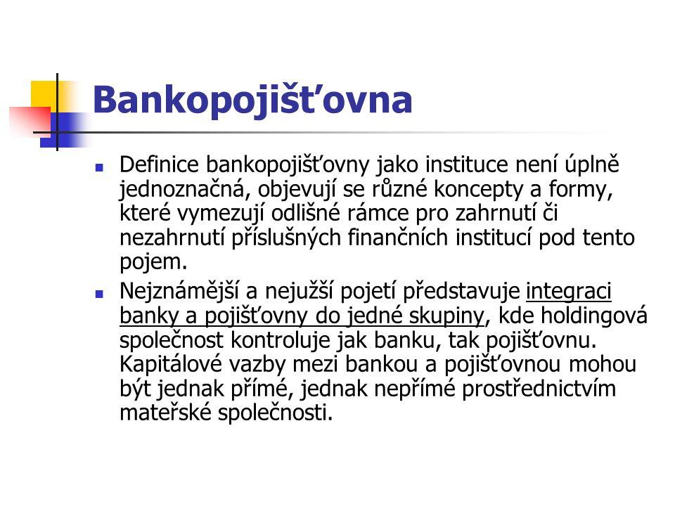 Bankopojišťovna Definice bankopojišťovny jako instituce není úplně jednoznačná, objevují se různé koncepty a formy, které vymezují odlišné rámce pro zahrnutí či nezahrnutí příslušných finančních institucí pod tento pojem.