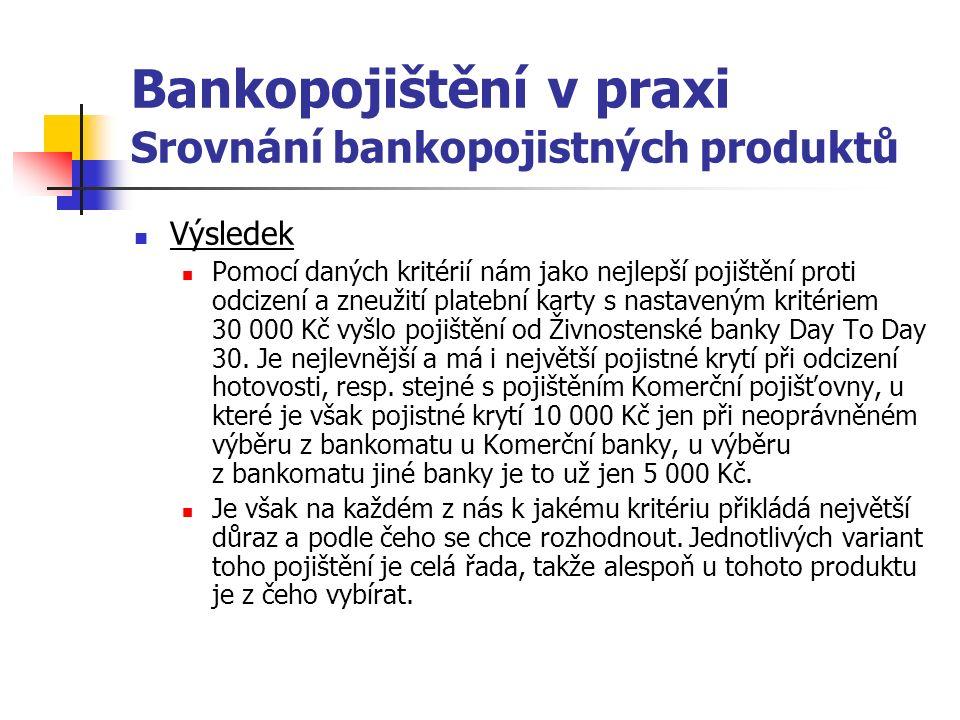 Bankopojištění v praxi Srovnání bankopojistných produktů Výsledek Pomocí daných kritérií nám jako nejlepší pojištění proti odcizení a zneužití platební karty s nastaveným kritériem 30 000 Kč vyšlo pojištění od Živnostenské banky Day To Day 30.