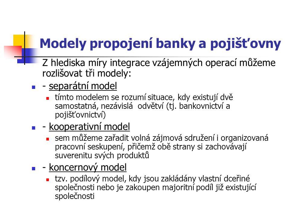 Modely propojení banky a pojišťovny Z hlediska míry integrace vzájemných operací můžeme rozlišovat tři modely: - separátní model tímto modelem se rozumí situace, kdy existují dvě samostatná, nezávislá odvětví (tj.