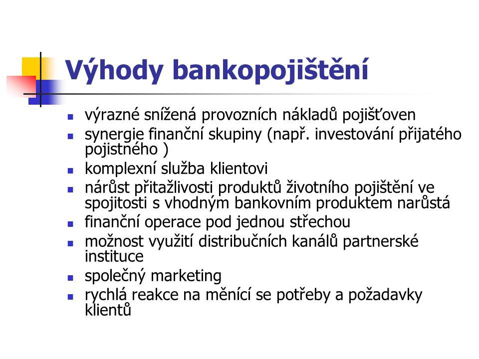 Výhody bankopojištění výrazné snížená provozních nákladů pojišťoven synergie finanční skupiny (např.