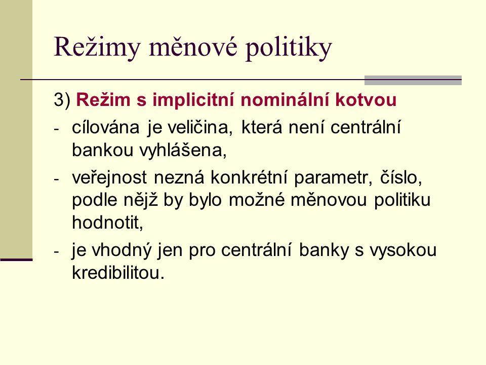 Režimy měnové politiky 3) Režim s implicitní nominální kotvou - cílována je veličina, která není centrální bankou vyhlášena, - veřejnost nezná konkrétní parametr, číslo, podle nějž by bylo možné měnovou politiku hodnotit, - je vhodný jen pro centrální banky s vysokou kredibilitou.