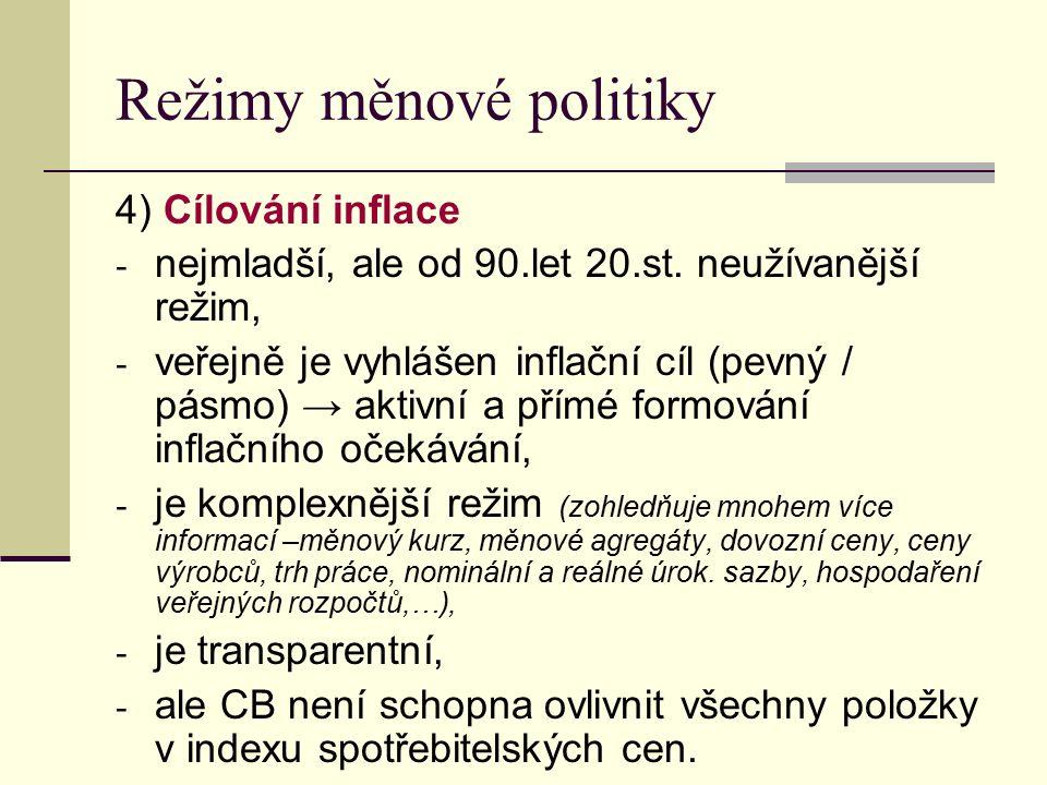Režimy měnové politiky 4) Cílování inflace - nejmladší, ale od 90.let 20.st.