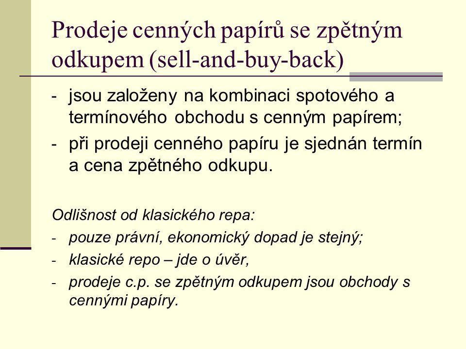 Prodeje cenných papírů se zpětným odkupem (sell-and-buy-back) - jsou založeny na kombinaci spotového a termínového obchodu s cenným papírem; - při prodeji cenného papíru je sjednán termín a cena zpětného odkupu.