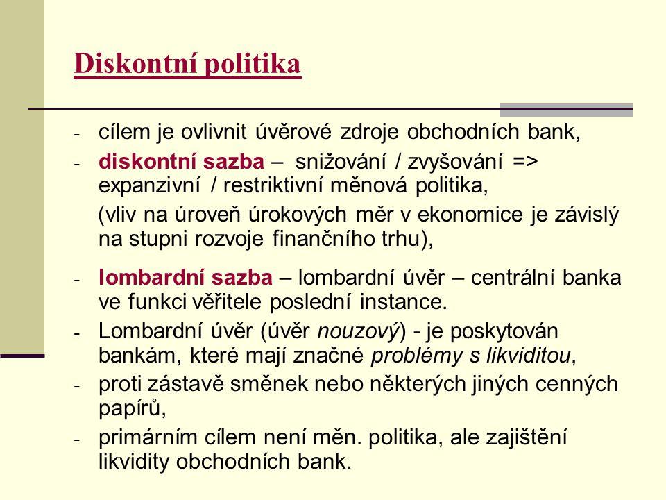 Diskontní politika - cílem je ovlivnit úvěrové zdroje obchodních bank, - diskontní sazba – snižování / zvyšování => expanzivní / restriktivní měnová politika, (vliv na úroveň úrokových měr v ekonomice je závislý na stupni rozvoje finančního trhu), - lombardní sazba – lombardní úvěr – centrální banka ve funkci věřitele poslední instance.